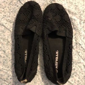 Airwalk Black Crotchet Flats